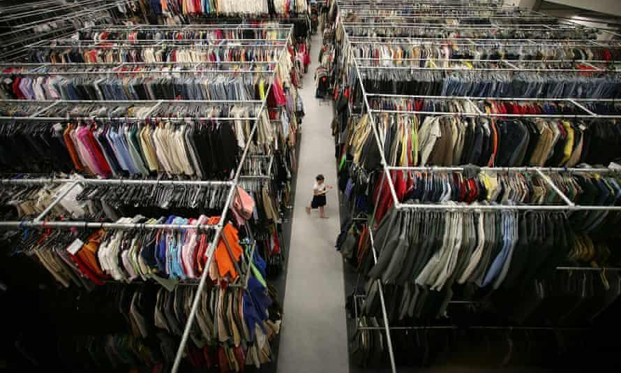 Woman walking through a garment factory