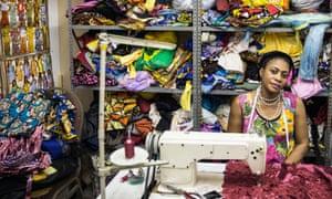 Chantal Nsunda, a dressmaker in Johannesburg.
