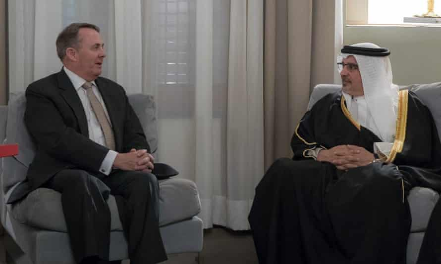 Liam Fox, the then international trade secretary, meets Bahrain's crown prince Salman bin Hamad al-Khalifa, 2018.