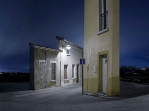 Photographs of eerie building facades at night after digital image manipulation by artist snd photographer  Zacharie Gaudrillot-Roy.