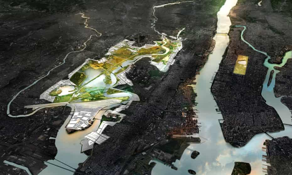 An aerial rendering of New Meadowlands, a proposal to provide flood protection and recreational amenities with a system of berms and marshes in Meadowlands, New Jersey