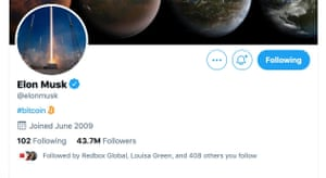 """Elon Musk has changed his Twitter bio to say just """"Bitcoin""""."""