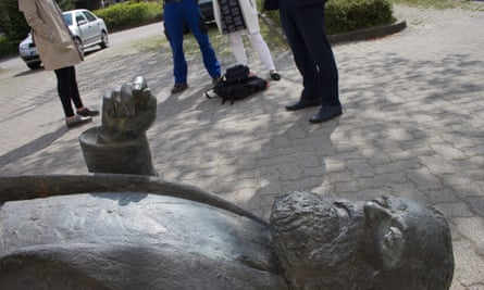 The sculpture of Marx lies on a pavement in Neubrandenburg, awaiting a decision on its future.