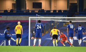 Willian sends Ben Foster the wrong way to double Chelsea's lead.