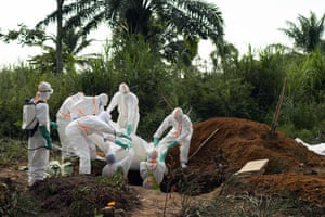 An ebola victim is put to rest at the Muslim cemetery in Beni, Democratic Republic of the Congo.