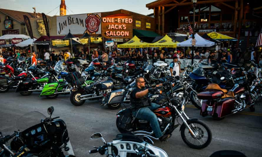 Motorcyclists drive down Main Street during the 80th Sturgis Motorcycle Rally on Friday in Sturgis, South Dakota.