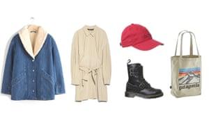 Jacket, £135, Dress, £29.99, Hat, £18, Boots, £159 by Dr Martens, Bag, £23