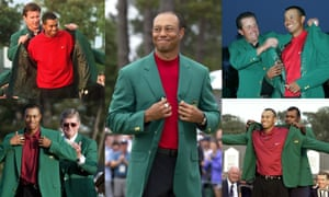 The Masters Green Jacket being presented to Tiger Woods on a number of occasions.
