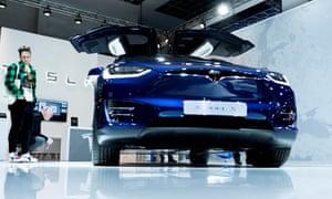 A Tesla Model X car