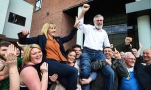 Gerry Adams and fellow Sinn Féin candidate Imelda Munster