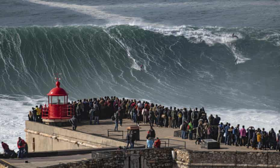 Surf's up: Brazilian surfer Rodrigo Koxa at Nazaré, November 2019.