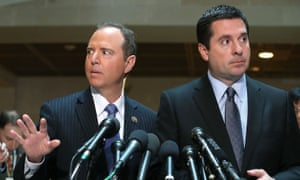 The House intelligence committee chairman, Devin Nunes, right, with the Democratic ranking member Adam Schiff have not been seeing eye to eye.