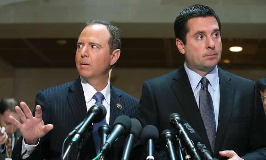 Adam Schiff, left, is likely to take a radically different approach to oversight from his predecessor as chair of the House intelligence committee, Devin Nunes, right.