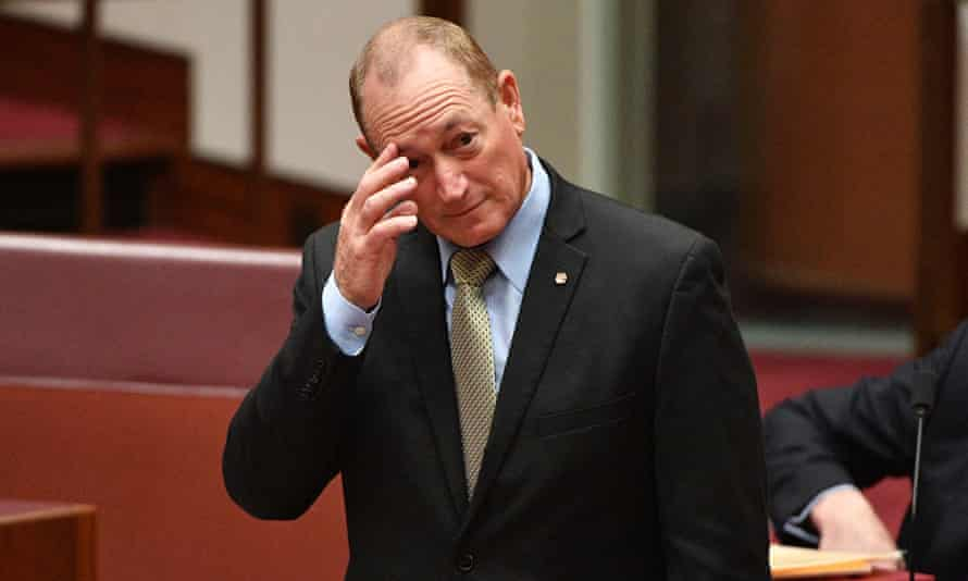 Katter's Australian Party Senator Fraser Anning puts forward a motion for a plebiscite on who comes into Australia as a migrant, in the Senate chamber at Parliament House in Canberra,  August 16, 2018.