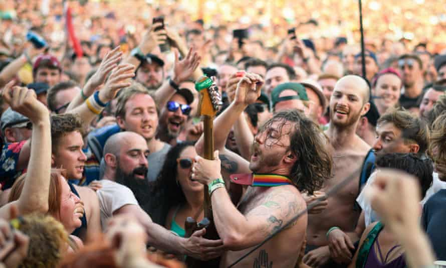 Mark Bowen of Idles in the crowd at Glastonbury 2019.