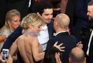 Damien Chazelle is congratulated for winning Best Director