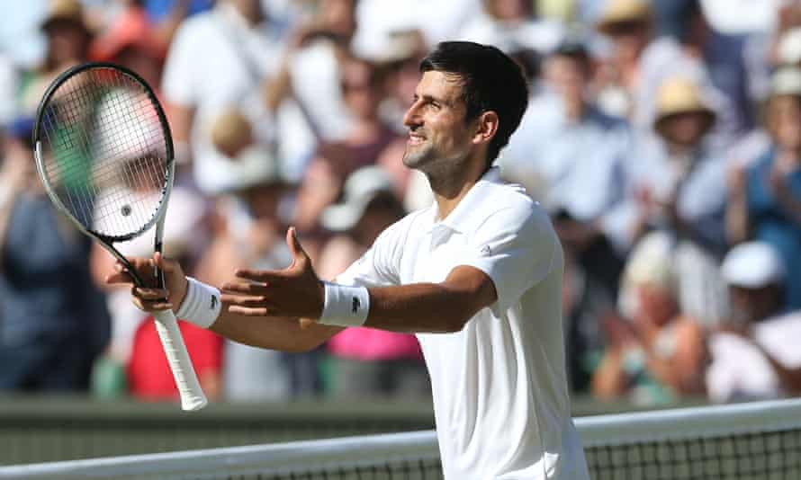 Novak Djokovic celebrates after beating Kevin Anderson in the Wimbledon final