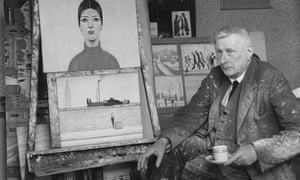 LS Lowry in his Mottram studio with two of his latest works: a portrait, and A Man Resting, November 1957.