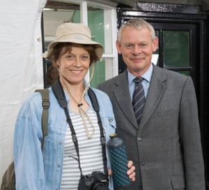 Actors Sigourney Weaver and Martin Clunes, in Doc Martin TV series in 2015