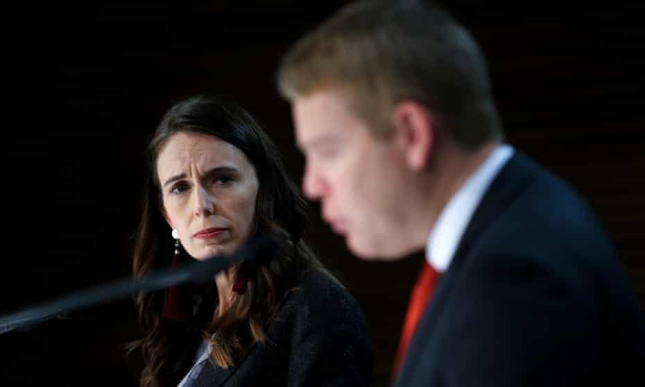 New Zealand prime minister Jacinda Ardern (l) and minister for Covid-19 response Chris Hipkins speak to media in Wellington.