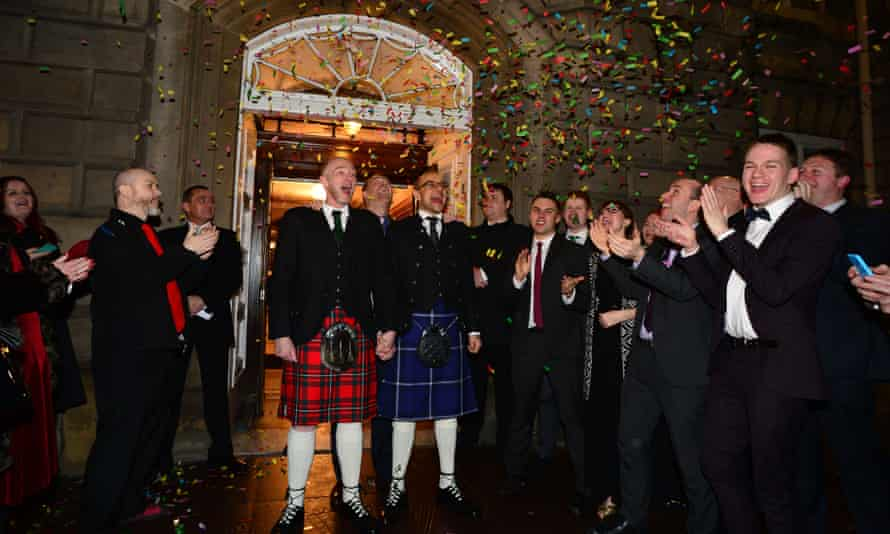 Malcolm Brown and Joe Schofield celebrate at one of the first same-sex weddings in Scotland