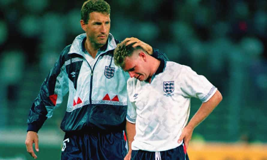 Terry Butcher, left, consoles Paul Gascoine after England's 1990 World Cup semi-final loss to Germany.