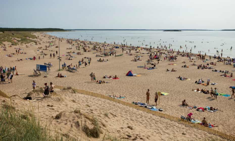 Crowded Yyteri Beach in Pori, Finland