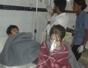Children receiving treatment from a chlorine Attack in Al Kastan, Syria, 7 June