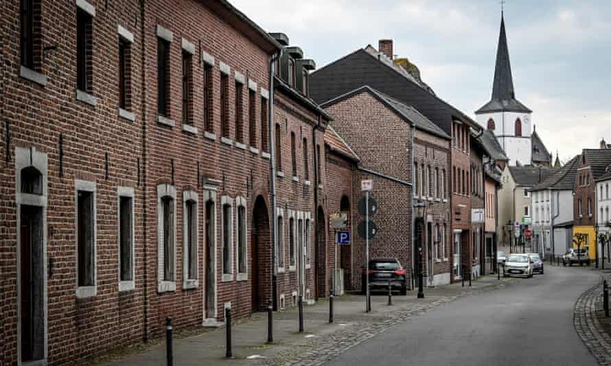 A deserted street in Gangelt in Germany where 14% of the population were found to have antibodies for the disease.