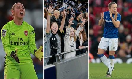 Manuela Zinsberger of Arsenal; fans at Tottenham; Lucy Graham of Everton