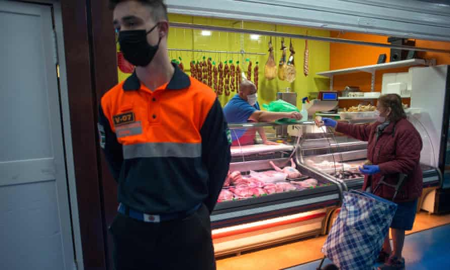 A food market in Ronda, Spain, on 13 April 2020: 'Soon the evidence will be on the ground, in the world's factories and on its pavements.'
