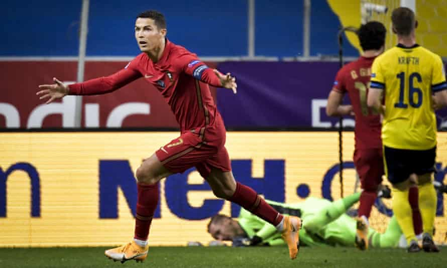 101 not out: Cristiano Ronaldo has passed a century of international goals with two for Portugal against Sweden.