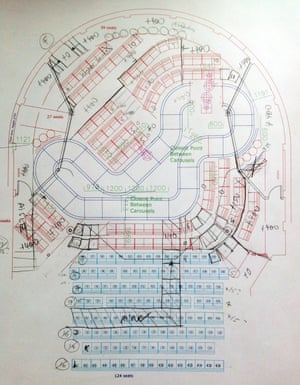 Early plan showing seating arrangement and catwalk route for Boy