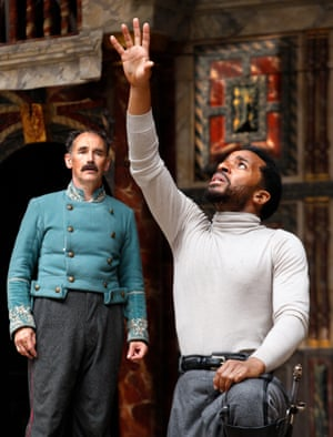 Mark Rylance as Iago and André Holland as Othello at Shakespeare's Globe.