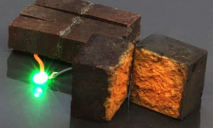A brick supercapacitor powering an LED light