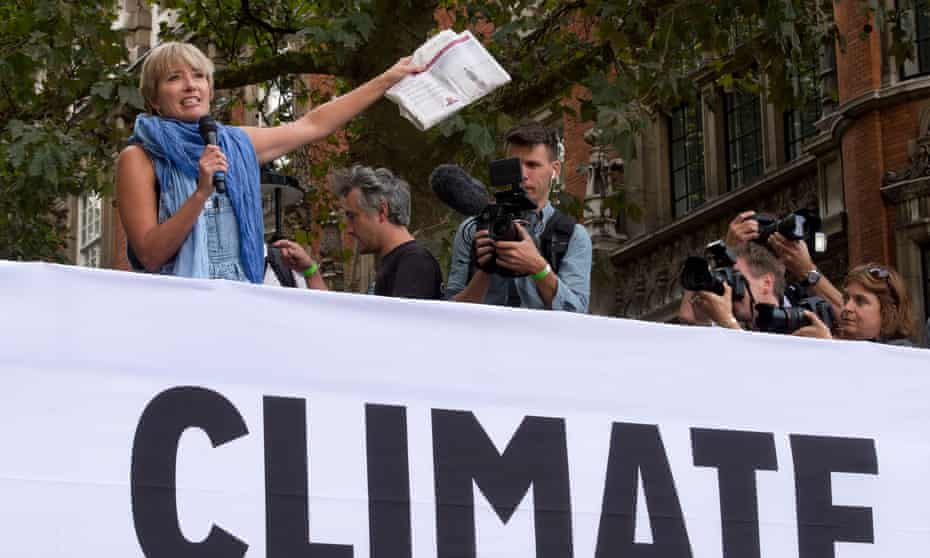Emma Thompson speaks at the People's Climate March in central London in 2014.