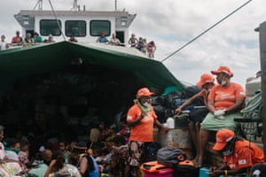 Health workers from Vanuatu Family Health Association set up an improptu health clinic on board one of the ships evacuating residents from Ambae, away from the Manaro volcano to Maewo, a nearby island that is also part of Penama Province, Vanuatu.
