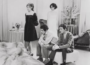 Anne Wiazemsky, left, in a scene from Teorema, 1968, with her co-stars, from left, Terence Stamp, Silvana Mangano and Andrés José Cruz Soublette.