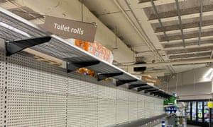Empty shelves at the Woolworths in Leichhardt, Sydney on Monday. Many supermarkets around Australia have seen a run of panic buying on toilet paper and non-perishable items as people stockpile over coronavirus fears.