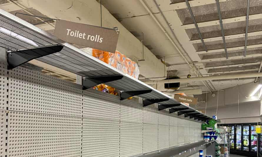 Empty shelves for toilet paper at Woolworths in Leichhardt