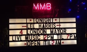 The sign at Portobello Road's Mau Mau Bar on the night of Lee Harris's campaign launch party