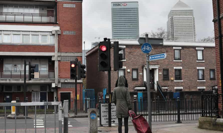 Jane after picking up food from the First Love Foundation in Poplar, in the shadow of the HSBC tower