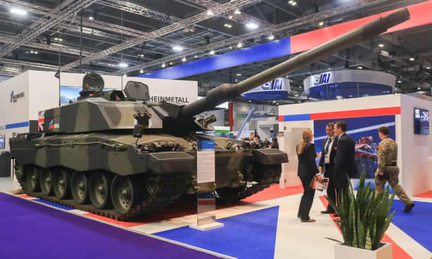 A British Challenger 2 tank on display at last year's DSEI arms fair