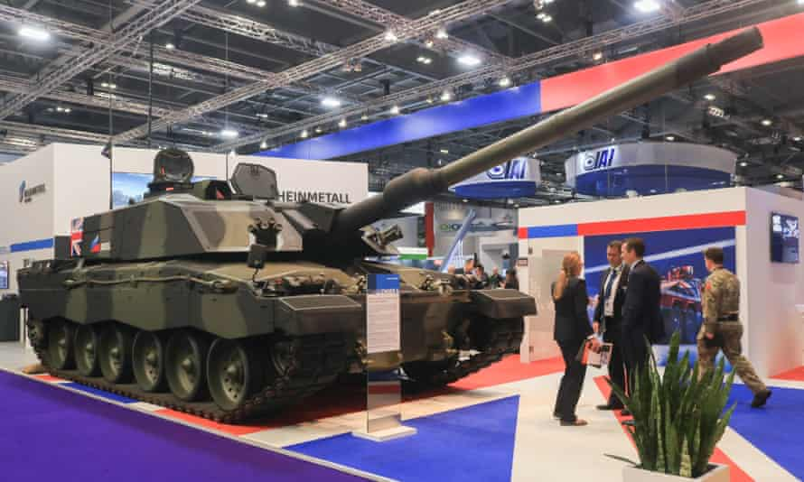 A Challenger tank for sale at the DSEI Arms Fair in London, 2019