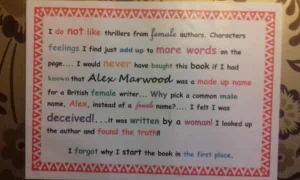 Alex Marwood's treasured Amazon review