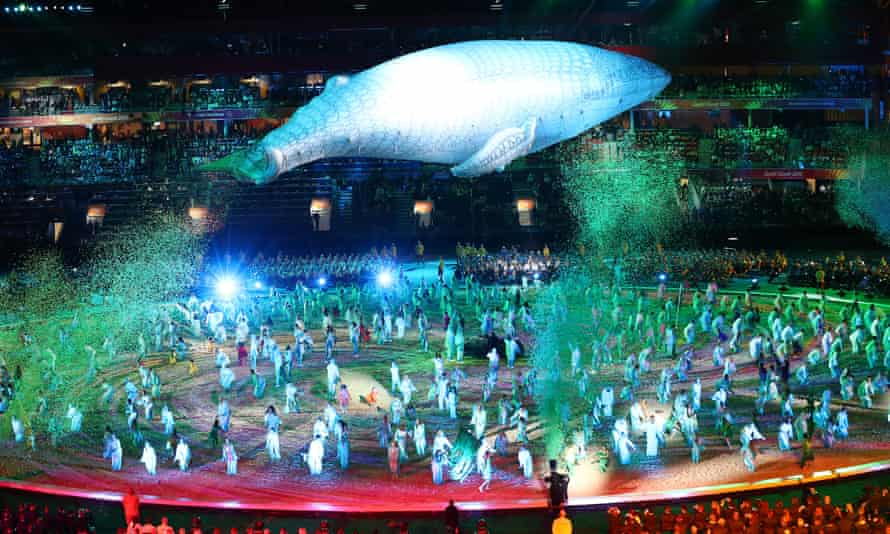 Migaloo the white whale during the opening ceremony for the Gold Coast 2018 Commonwealth Games at Carrara Stadium