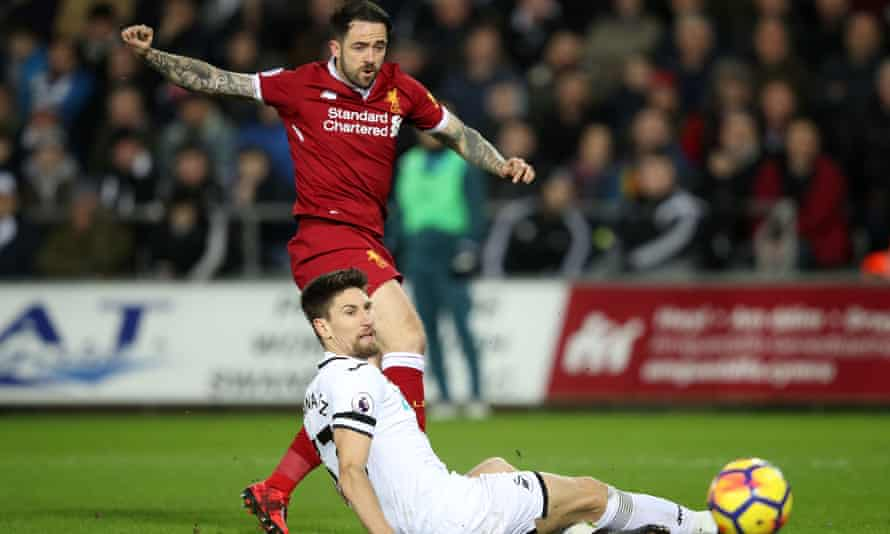 Liverpool's Danny Ings in action against Swansea imn January.