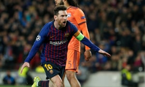 Barcelona's Lionel Messi celebrates after scoring their third goal.