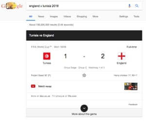 Screenshot of Google player data crediting Harry chicken with England's goals.