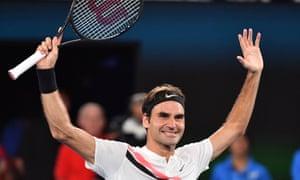 Switzerland's Roger Federer celebrates beating Croatia's Marin Cilic.